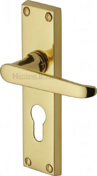 Heritage Victoria Euro Lock Door Handles V3948 Polished Brass Lacquered
