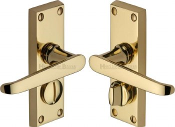 Heritage Victoria Privacy Door Handles V3935 Polished Brass Lacquered