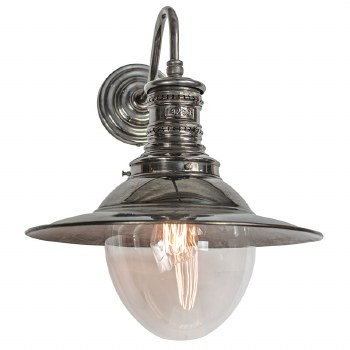 Victoria Station Lamp Antique Brass with Clear Glass