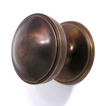 """Victorian Centre Door Knob Hand Aged Brass 3"""""""