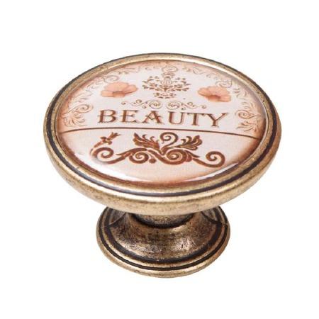 "Vintage Chic ""Beauty"" Cupboard Knob Antique Brass"