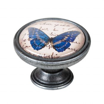 Vintage Chic Butterfly Cupboard Knob Old Silver