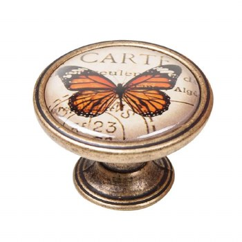 Vintage Chic Butterfly Cupboard Knob Antique Brass