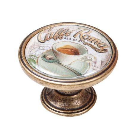 Vintage Chic Caffe Roma Cupboard Knob Antique Brass