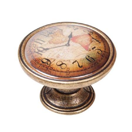 Vintage Chic Clock Cupboard Knob Antique Brass