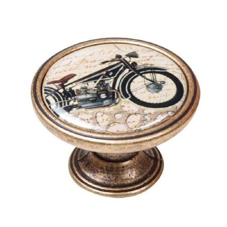 Vintage Chic Motorbike Cupboard Knob Antique Brass