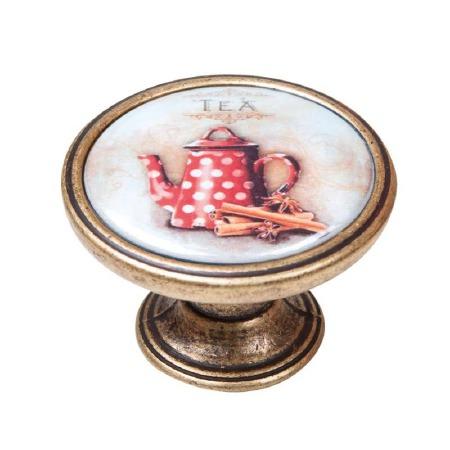 Vintage Chic Tea Pot Cupboard Knob Antique Brass