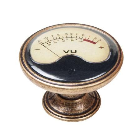 Vintage Chic VU Meter Cupboard Knob Antique Brass