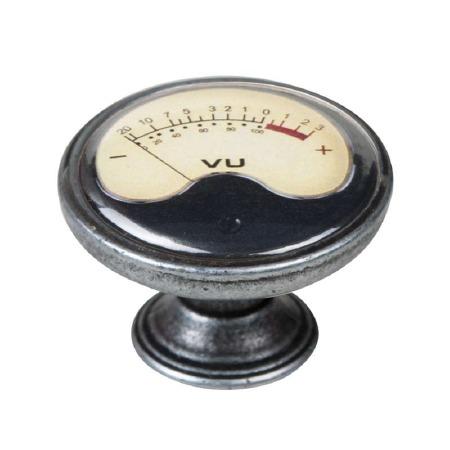 Vintage Chic VU Meter Cupboard Knob Old Silver