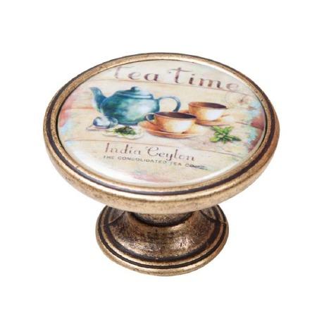 Vintage Chic Tea-Time Cupboard Knob Antique Brass
