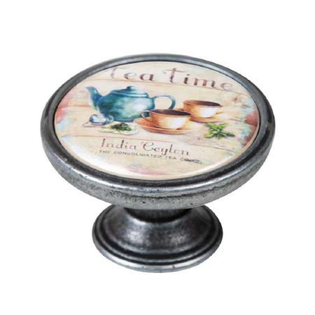 Vintage Chic Tea-Time Cupboard Knob Old Silver