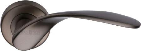 Heritage Volo Round Rose Door Handles V1950 Matt Bronze Lacq