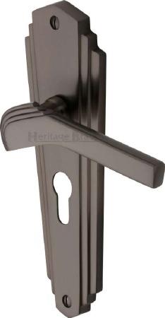 Heritage Waldorf Euro Lock Door Handles WAL6548 Matt Bronze
