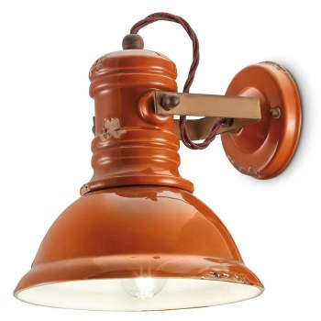 Italian Ceramic Wall Light C1693 Vintage Arancio