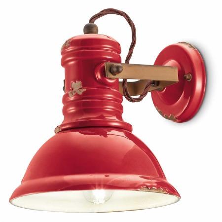 Italian Ceramic Wall Light C1693 Vintage Rosso