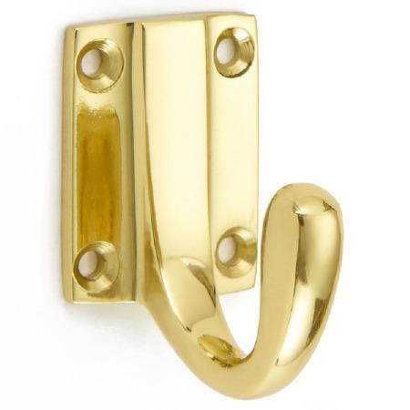 Croft Coat Hook Heavy Cast Polished Brass Unlacquered