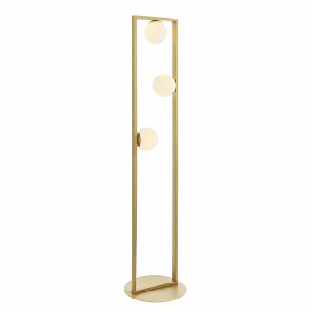 Warmwell Geo Floor Lamp Brushed Gold & Opal Glass