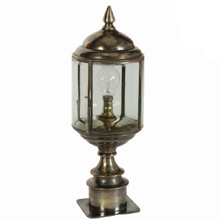 Wentworth Short Pillar Lantern, Light Antique Brass