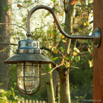 Wheelhouse Large Outdoor Wall Light Lantern, Antique Brass