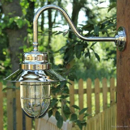 Wheelhouse Large Outdoor Wall Light Lantern, Nickel