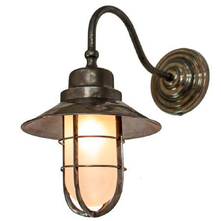 Wheelhouse Outdoor Wall Lantern Antique Brass Opal Glass