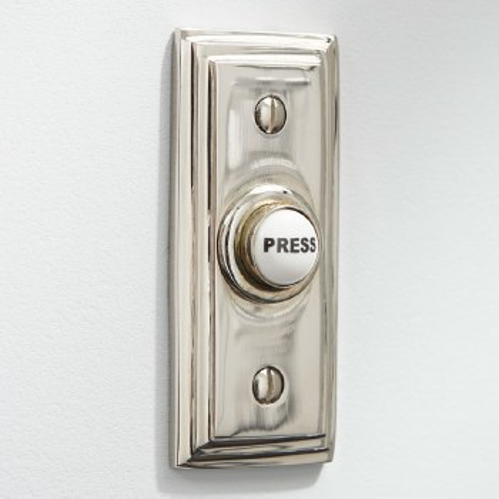 Edwardian Rectangular Door Bell Push Polished Nickel