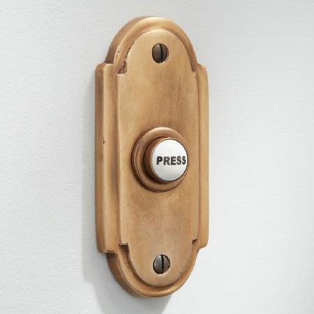 Edwardian Door Bell Push Antique Satin Brass