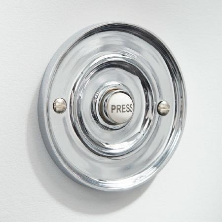 "Circular Door Bell Push 3"" Polished Chrome"