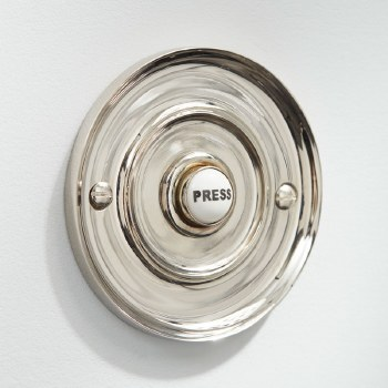 "3"" Circular Door Bell Push Polished Nickel"