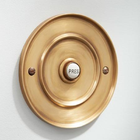 "Circular Door Bell Push 4"" Antique Satin Brass"