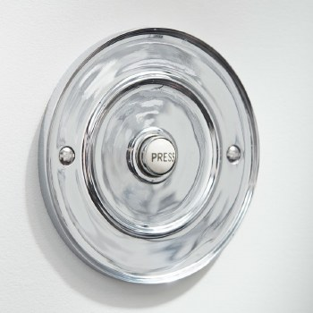 "Circular Door Bell Push 4"" Polished Chrome"