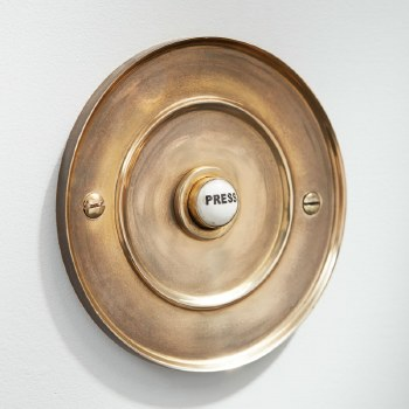 "4"" Circular Door Bell Push Renovated Brass"