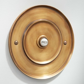 "Circular Door Bell Push 5"" Antique Satin Brass"