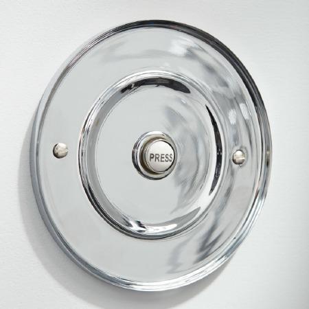 "Circular Door Bell Push 5"" Polished Chrome"