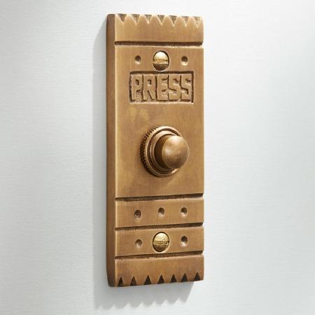 Arts & Crafts Door Bell Push Antique Satin Brass