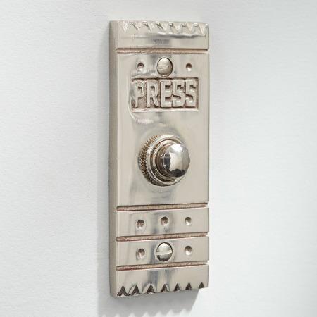 Arts & Crafts Door Bell Push Polished Nickel