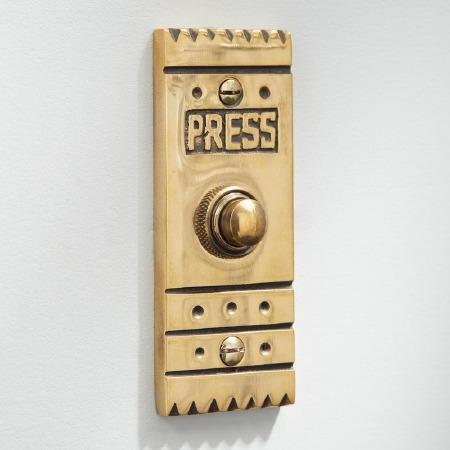 Arts & Crafts Door Bell Push Renovated Brass