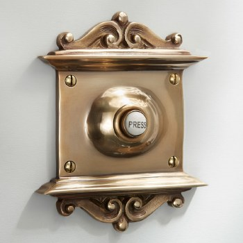 Scroll Door Bell Push Renovated Brass