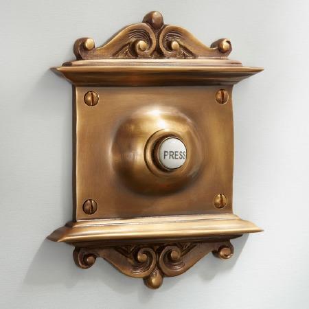 Scroll Door Bell Push Antique Satin Brass