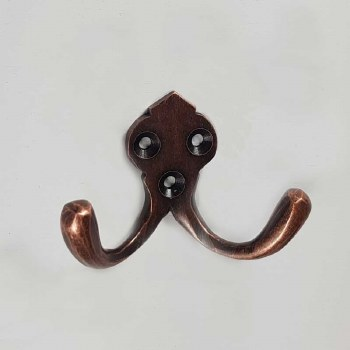 Double Robe Hook Distressed Antique Copper