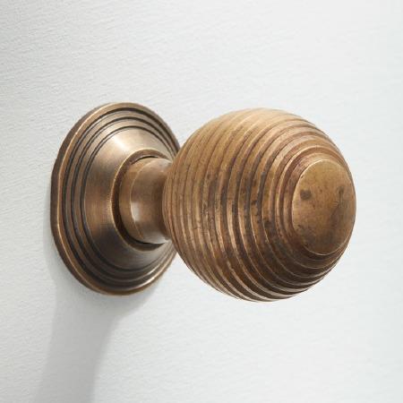 Reeded Cabinet Knob 25mm Antique Satin Brass