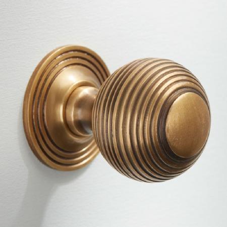 Reeded Cabinet Knob 32mm Antique Satin Brass