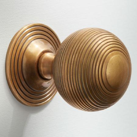 Reeded Cabinet Knob 38mm Antique Satin Brass