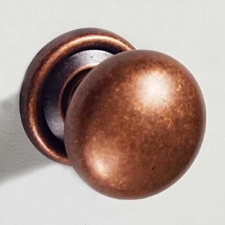 25mm Plain Cupboard Door Knob Distressed Antique Copper