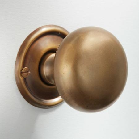 45mm Plain Cupboard Door Knob Antique Satin Brass