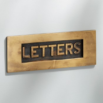 Letter Plate with LETTERS Antique Satin Brass 204mm