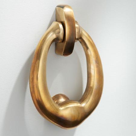 Ring Door Knocker Small Renovated Brass
