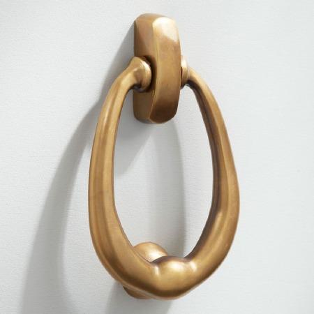 Ring Door Knocker Large Antique Satin Brass