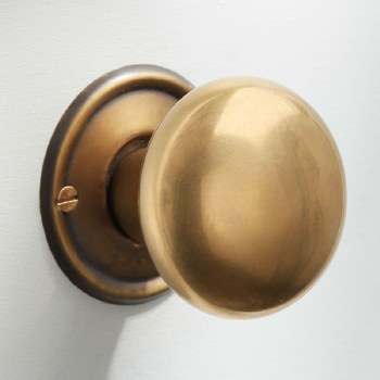 Plain Bun Mortice or Rim Door Knobs 50mm Antique Satin Brass