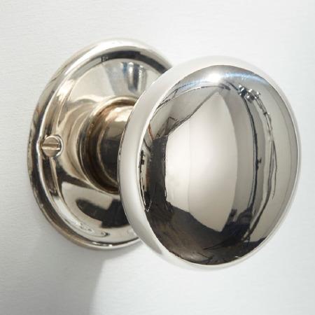 Plain Bun Mortice or Rim Door Knobs 50mm Polished Nickel